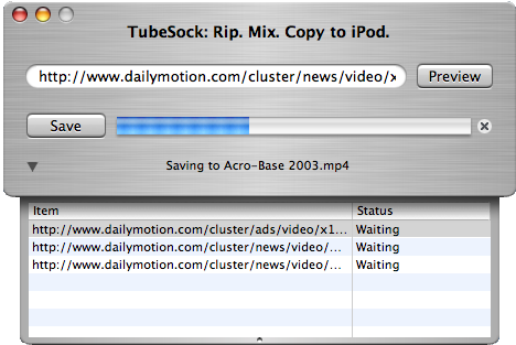 TubeSock's conversion queue